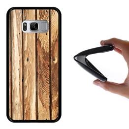 Samsung Galaxy S8 Hülle, WoowCase Handyhülle Silikon für [ Samsung Galaxy S8 ] Naturales Holz Handytasche Handy Cover Case Schutzhülle Flexible TPU - Schwarz -