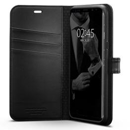 Samsung Galaxy S8 Plus Hülle, Spigen® [Wallet S] Praktishe Ledertasche [Schwarz] Integrierter Aufstell Funktion und Kartenfach Premium Leder Flip Brief Tasche Schutzhülle für Samsung Galaxy S8+ Case Cover, Samsung S8 Plus Case Cover - Black (571CS21687) -