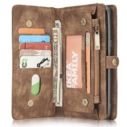 Samsung Galaxy S8 Plus Leder Case Hülle mit Kartenfächer Geldscheinfach mit Reißverschluss Magnet Handy Schutzhülle, Braun -