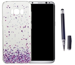 Samsung Galaxy S8(2017) Neu Design Hülle mit Schwarz Smart Touch Pen Stift,ISENPENK Ultra Slim Silikon Soft TPU Cool Modisch Pattern Case,Schöne Einfache Outdoor Crystal Clear Transparent Wasserdicht Shockproof Anti Slip Stoßfest Protection Durchsichtig Handyhülle,Thin Silicon Cover Bumper Schutzhülle Tasche für Samsung Galaxy S8(2017) 5.8Zoll [liebe]+Schwarz Smart Touch Pen Stift -