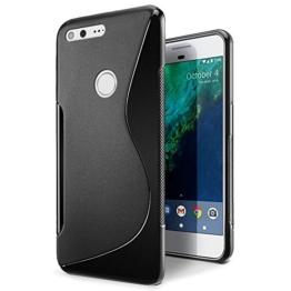 SLEO Google Pixel XL Hülle S-TPU Ultradünne Schutzhülle [Anti-Scratch/Rutsch] [Staubdicht] Translucent Silikon Tasche für Google Pixel XL - Schwarz -