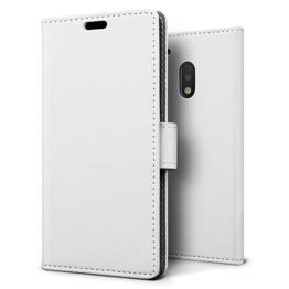 SLEO Motorola Moto G 4th Hülle - Premium Luxuriös PU lederhülle [Vollständigen Schutz] [Kreditkartenfach] Flip Brieftasche Schutzhülle im Bookstyle für Motorola Moto G 4th - Weiß -