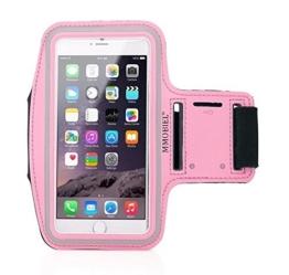Sportband Armband für iPhone 5 5C 5S SE Pink Schlüsselhalterung wasserfest Ultra Leichtgewicht Qualitätsprodukt Soft Neopren Material Stretch mit reflektierendem Rand verstellbar mit 2 varianten mit Öffnung für Head-Set MMOBIEL -