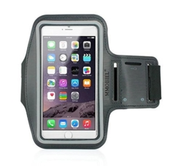 Sportband Armband für iPhone 5 5C 5S SE Schwarz Schlüsselhalterung wasserfest Ultra Leichtgewicht Qualitätsprodukt Soft Neopren Material Stretch mit reflektierendem Rand verstellbar mit 2 varianten mit Öffnung für Head-Set MMOBIEL -