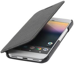 StilGut Book Type Case, Hülle Leder-Tasche für Google Pixel. Seitlich klappbares Flip-Case aus Echtleder für das Original Google Pixel | Smart-Cover On-/Off-Funktion, Schwarz -