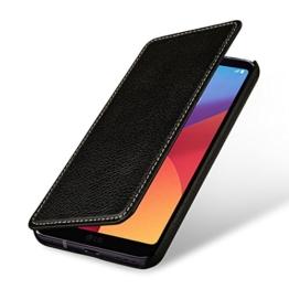 StilGut Book Type Case, Hülle Leder-Tasche für LG G6. Seitlich klappbares Flip-Case aus Echtleder für das Original LG G6, Schwarz -