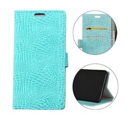 Sunrive® Für LG G6,Magnetisch Schaltfläche Ledertasche Schutzhülle Etui Hülle mit Standfunktion Cover Tasche Case Handyhülle Kartenfächer Kreditkarte Taschen Schalen Handy Tasche Flip Wallet Stil Lederhülle(Crocodile hellblau)+Gratis Universal Eingabestift -