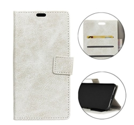 Sunrive® Für LG G6,Magnetisch Schaltfläche Ledertasche Schutzhülle Etui Hülle mit Standfunktion Cover Tasche Case Handyhülle Kartenfächer Kreditkarte Taschen Schalen Handy Tasche Flip Wallet Stil Lederhülle(Crazy-Pferd weiß)+Gratis Universal Eingabestift -