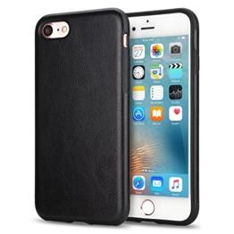 TENDLIN iPhone 7 Hülle Leder mit Flexiblem TPU Silikon Hybrid Weiche Schutzhülle Schwarz -