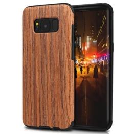 TENDLIN Samsung Galaxy S8 Hülle Holz Flexiblem TPU Silikon Hybrid Weiche Schutzhülle für Samsung Galaxy S8 (Rotes Sandelholz) -