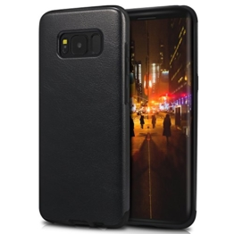 TENDLIN Samsung Galaxy S8 Plus Hülle Leder Flexiblem TPU Silikon Hybrid Schutzhülle für Samsung Galaxy S8 Plus (Schwarzes Leder) -