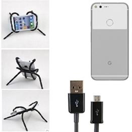 """Tischständer mit Ladekabel, Ladestation, Dockingstation für Google Pixel XL, schwarz """"Spider"""". Stativ Autohalterung mit Micro-USB Ladekabel - K-S-Trade -"""