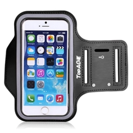 TopAce Wasserabweisend Running Armband Etui Case/ Schutzhülle/ Armhalter für Sport/ Laufen/ Joggen für Google Pixel XL / Moto Z Play / LG V20 / Xiaomi Redmi Note 4 mit Einstellbare Größe, Sicherheitsdesign, Geeignet (Schwarz) -