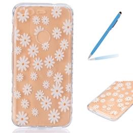 Trumpshop Smartphone Schutz Schale Tasche Handyhülle für Google Pixel (5.0 Zoll) + Transparent Blume + TPU Silikon Etui Hülle Ultradünnen Kratzfeste SchutzHüllen -