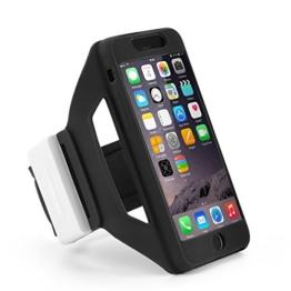 TSCASE iPhone Fitnessarmband & Schlüsselhalter aus weichem Silikon, Wasserbeständiges Sportarmband für iPhone 7, 6s und 6, Ideal zum Laufen, Bergsteigen und Radfahren, in Schwarz -