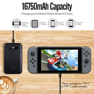 [USB-C Powerbank für Nintendo Switch] iMuto 16750mAh 3-Port Externer Akku Power Bank Externes Akkuladegerät, USB Type-C Tragbares Batterie Ladegerät für iPhone 7 7Plus 6 6S, Samsung Galaxy, Nexus, Google Pixel, Huawei, Gopro, Smartphones, Tablets und Mehr -Schwarz -