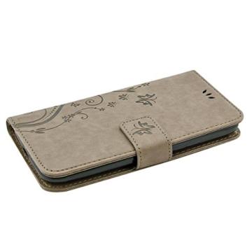 Vanlog Motorola Moto G (3. Generation) Leder Hülle Moto G3 Ledertasche Brieftasche Handytasche mit Standfunktion und Kredit Kartenfächer Schutzhülle für Motorola Moto G3 Etui Flip Case Grau Tasche -