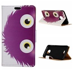 Voguecase Für Moto Z Play hülle,(Lila Monster) Kunstleder Tasche PU Schutzhülle Tasche Leder Brieftasche Hülle Case Cover + Gratis Universal Eingabestift -