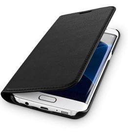 WIIUKA Echt Ledertasche TRAVEL NATURE Samsung Galaxy S8 DEUTSCHES-LEDER Schwarz mit Kartenfach extra Dünn Tasche Premium Design Leder Hülle -