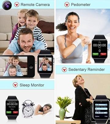 YuanGuo Smart Watch Bluetooth Smartwatch YG8 Uhr Intelligente Armbanduhr Tracker Armband Sport Uhr Telefon/Kamera/Schrittzähler/Schlafanalyse für Android Smartphone Samsung HTC Sony LG iPhone (Schwarz) -