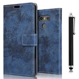 zStarLn® dunkelblau Hülle Case für LG G6 - Schutzhülle Cover Bookstyle Retro Leder Tasche Zubehör Handytasche + Stylus pen und 3 Schutzfolien -